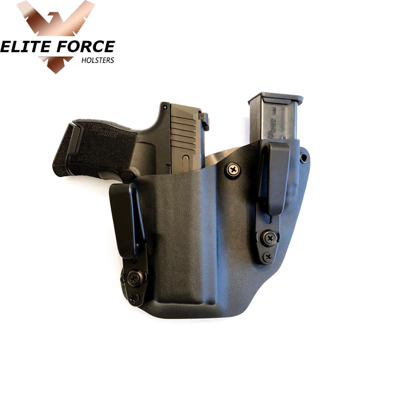 Se adapta a Glock 19 IWB Personalizado Tuckable Funda Mag Carrier (Negro)