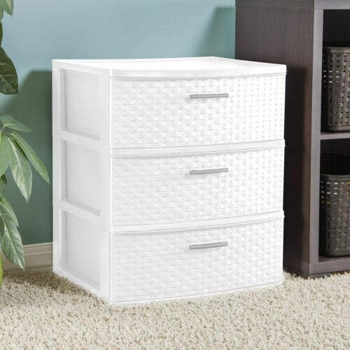 3 Drawer Wide Weave Tower White Storage Drawers Sturdy Plastic Cabinet Bedroom