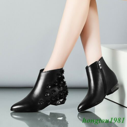Womens Leather Block Low Heels Ankle Boots Floral Pointy Toes Casual New Shoes
