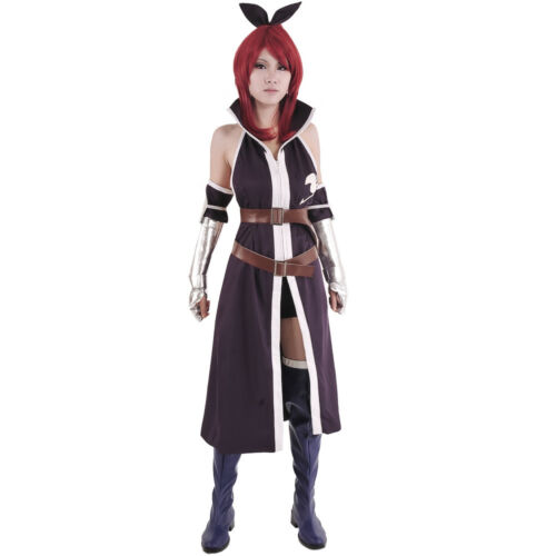Female Woman Erza Scarlet Cosplay Costume Fairy Tail Purple Overcoat