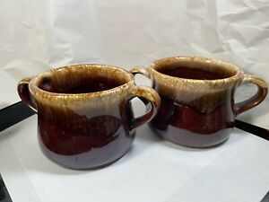 McCoy-Brown-Drip-Glazed-Double-Handle-Soup-Cup-or-Mug-3-Available