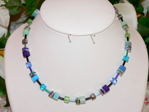 3er schmuckset cubo cadena vaso de cristal Cat Eye turquesa lila Mint pedrería 500d