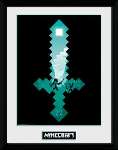 Minecraft Diamond Sword Framed Collector Print 30x40cm12x16