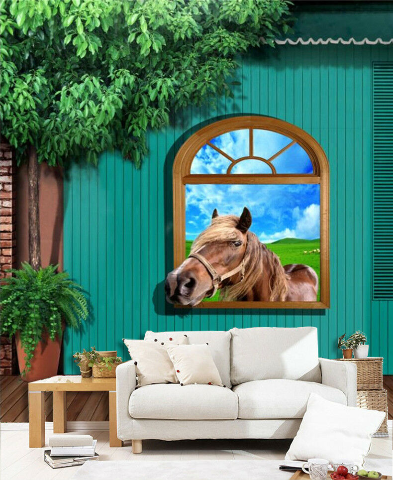 3D Horse Window 754  Wall Paper Murals Wall Print Wall Wallpaper Mural AU Kyra