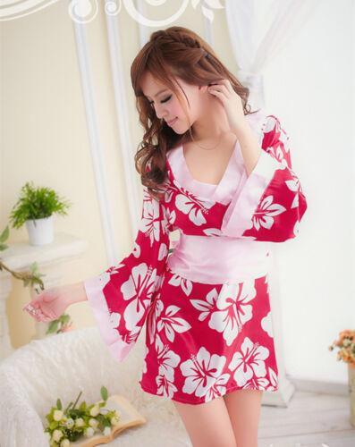 Women Lady Pink Sakura Sleepwear sleep Lingerie Bath Nighties Dress Kimono