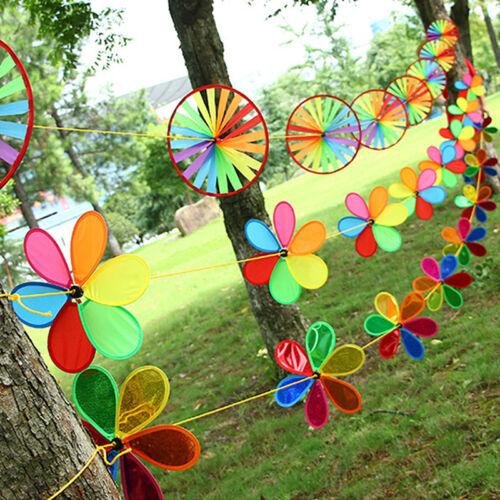 Rainbow Wheel Windmill Wind Spinner Garden Home Lawn Decoration Home Display Z