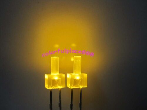 1000pcs New 2mm Yellow Diffused LED Flat Top Leds Bright Light Bulb Yellow Lens