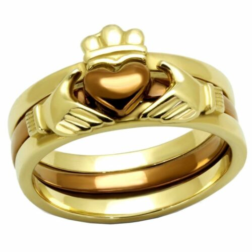 Womens Two-Tone IP Gold /& IP Light Brown Stainless Steel Claddagh 3 RINGS SET
