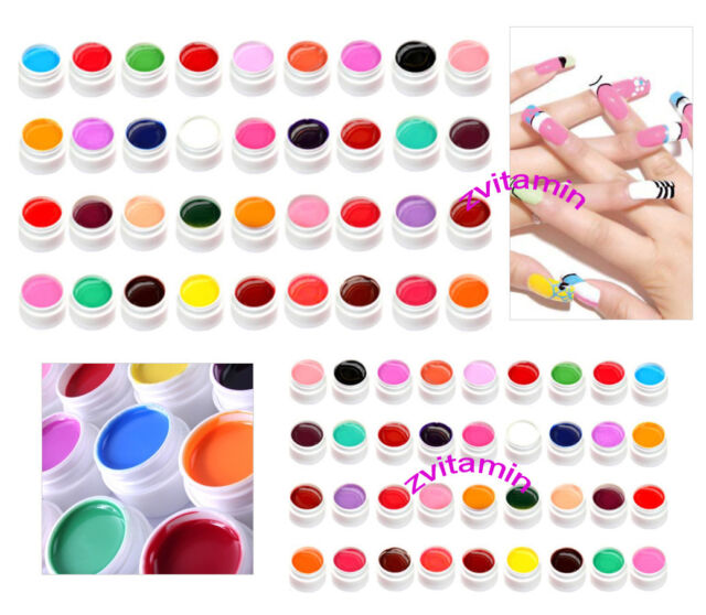 36 Pots Pure Colors UV Gel Nail Art Tips Shiny Cover Manicure Decor GDCOCO
