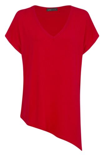 NEW WOMENS ASYMMETRIC SIDE ANGLE CUT LADIES SHORT SLEEVE BAGGY  TOP