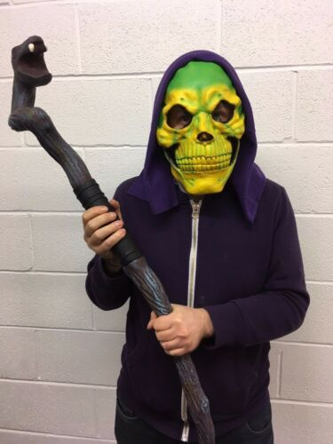 Neon Yellow /& Green Skull Mask With Hood Skeletor Skeleton Halloween Fancy Dress