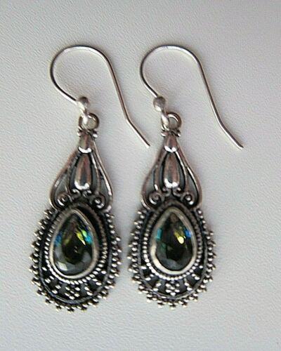 Rainbow Mystic Topaz Multi-colour Silver Earrings.
