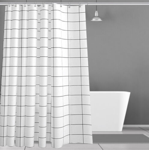 Black and White PEVA Shower Curtain for Bathroom,Washable STALL with Free Hook