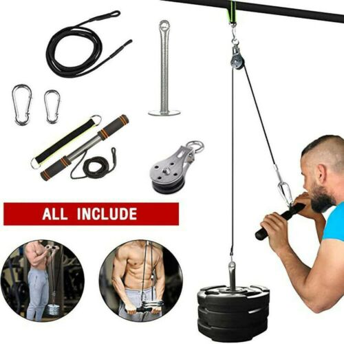 Fitness Diy Pulley Cable Machine System Bicep Tricep Arm Blaster Hand Strength
