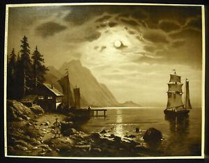 Sailboat-on-the-Lake-Germany-Niederrhein-c1900-M-amp-L-Chromolithography-Germany