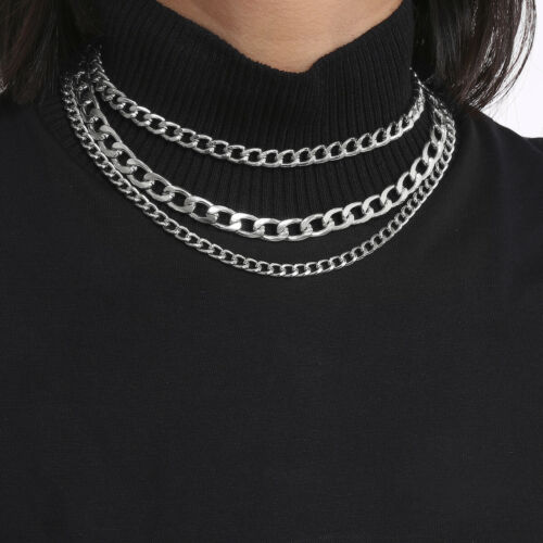 Layer punk chains necklace for women fashion gothic neck chocker goth jewelry