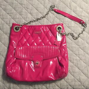 aa1951fe27aa9 Image is loading Pink-Patent-Leather-Coach-Purse-with-Adjustable-Silver-
