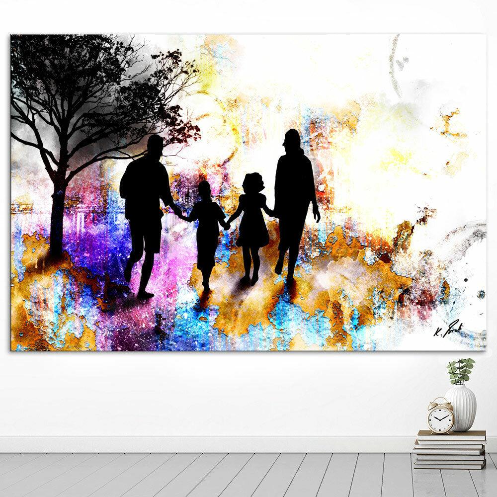 Abstraktes Bild Familie Skyline Leinwand Bilder Wandbilder Kunstdruck D1644