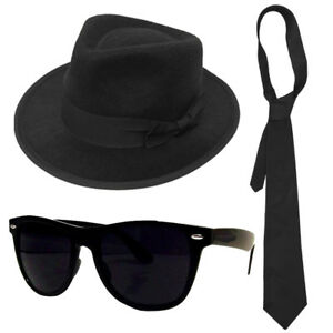 ADULTS GANGSTER SET BLUE BROTHERS HAT TIE GLASSES MENS 1920S FANCY ... 00a797cdc3a2