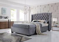 Brando Chesterfield Wing Back 4`6 Double Grey Velvet Fabric Bed Frame