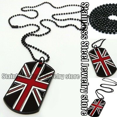 British Flag UK Union Jack Army Style Black Dog Tags Chain Mens Pendant Necklace