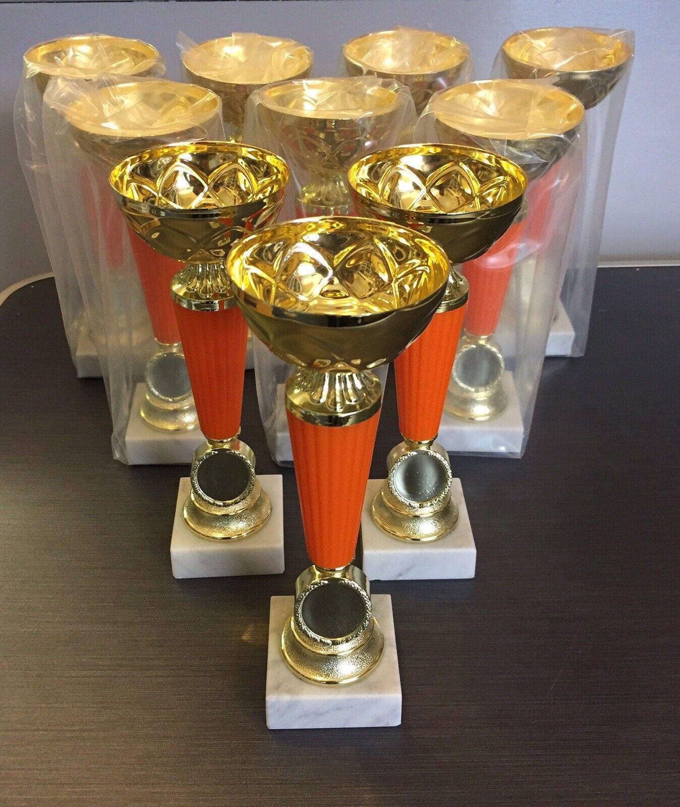 """10x JOBLOT  Naranja trofeo Bundle 8""""in tamaño cualquier deporte grabado gratis + LOGOTIPO DEPORTES  ventas en linea"""
