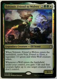 1x FOIL Tolsimir Friend to Wolves Near Mint NM Magic commander WAR OF THE SPARK