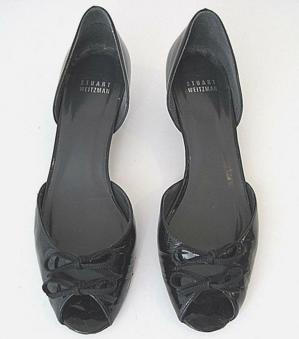 STUART HEEL WEITZMAN BLACK  PATENT LEATHER OPEN TOE KITTEN HEEL STUART Schuhe 7 1/2 N 00a164