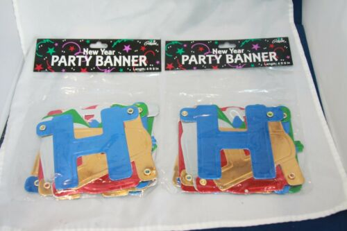 2 New Gibson HAPPY NEW YEAR metallic letter color paper BANNER 4 ft 9 in