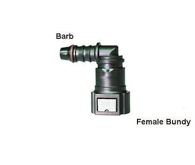 "Fitting Fuel Line Quick Connector 3//8"" Barb X 1//2"" Bundy Female Elbow 90 Deg"