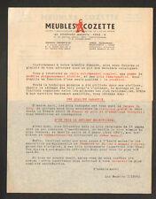 """PARIS (X°) MEUBLES """"COZETTE"""" LETTRE + BON de COMMANDE en 1947"""