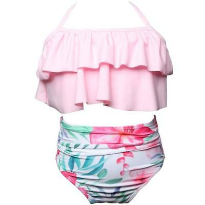 2Pcs Toddler Baby Girls Ruffles Swimwear Bathing Bikini Set Outfits Swimsuit