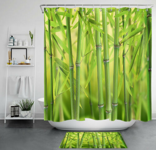 "Asian Zen Bamboo Forest Bokeh Scene Waterproof Polyester Shower Curtain Set 72/"""