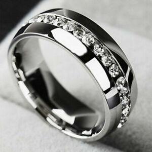 Uomini-Donne-in-acciaio-inox-Anello-di-nozze-Banda-in-Titanio-S7-11