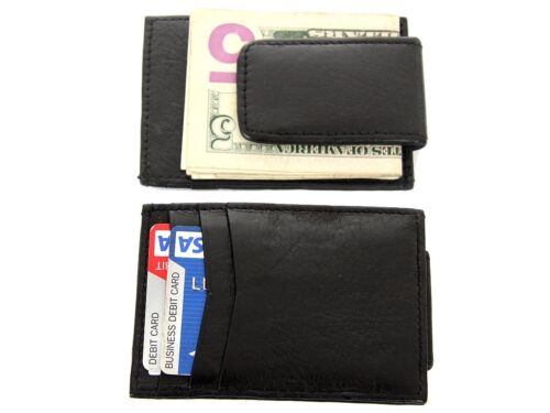 Leather Slim Design Magnetic Money Clip 3 Credit Card Holder Black Men/'s Wallet