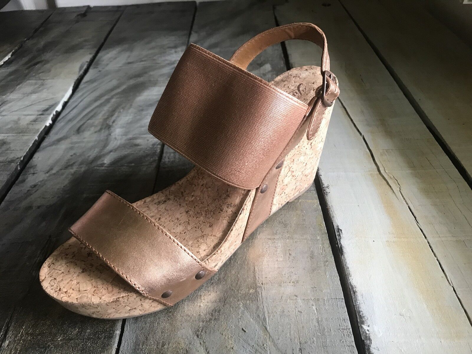 NEU 90 Größe 10 Lucky Brand Mumbah Copper Speckle Combo Cork Wedge