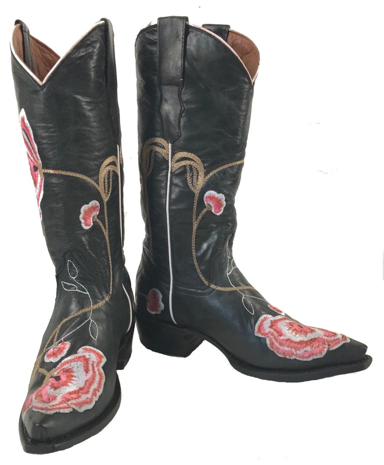 vendita di fama mondiale online Donna  New Embroidered Leather Cowgirl Western Biker Rodeo stivali stivali stivali nero Sale  essere molto richiesto