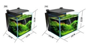 2 Sizes Desktop Cube Glass Aquarium LED Light Fish Tank Integrated Filter