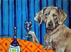 Cocker spaniel dog wine 11x14  art PRINT dog animals impressionism