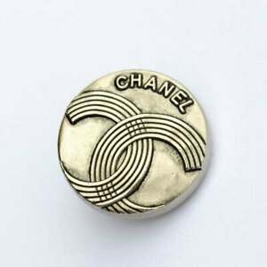 100-Chanel-buttons-2-pieces-metal-cc-logo-0-7-inch-17-mm-silver-stamped