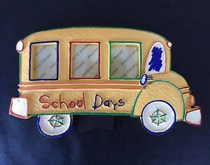 Yellow School Bus Photo Picture Frame 3 Picture New In Box