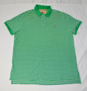 Ralph-Lauren-Polo-Jeans-Green-Striped-Golf-Shirt-034-Weathered-Pique-Polo-034-Mens-2XL