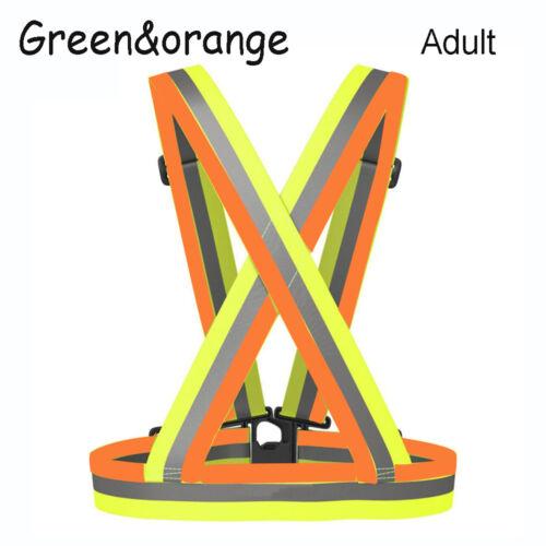 Adjustable Safety High Visibility Reflective Vest Stripes Jacket Night Running