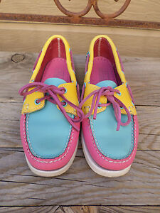 """Sebago """"Docksides"""" Blue/Yellow/Pink Leather Boat Shoes Women's 6.5 W"""