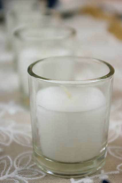 6cm White Wax Glass Wedding Room Table Decoration Votive Candle BUY QTY REQD