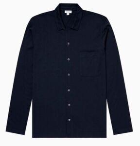 SUNSPEL Chemise de pyjama manches longues coton modal  Bleu NAVY Taille L 46/48