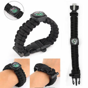 Outdoor 5-in-1 Survival Bracelet Paracord Compass Whistle Scraper Rope Gear Kit#