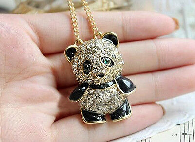 Funky Rhinestone Crystal Panda Sweater Chain Girl Animal Pendant Necklace USSP