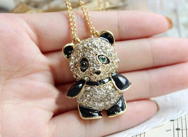 Rhinestone Crystal Panda Sweater Chain Girl Cute Animal Pendant Necklace   JR