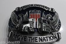 "Truck Drivers ""move the nation""Pewter Finish Metal/Enamel BELT BUCKLE kenworth m"